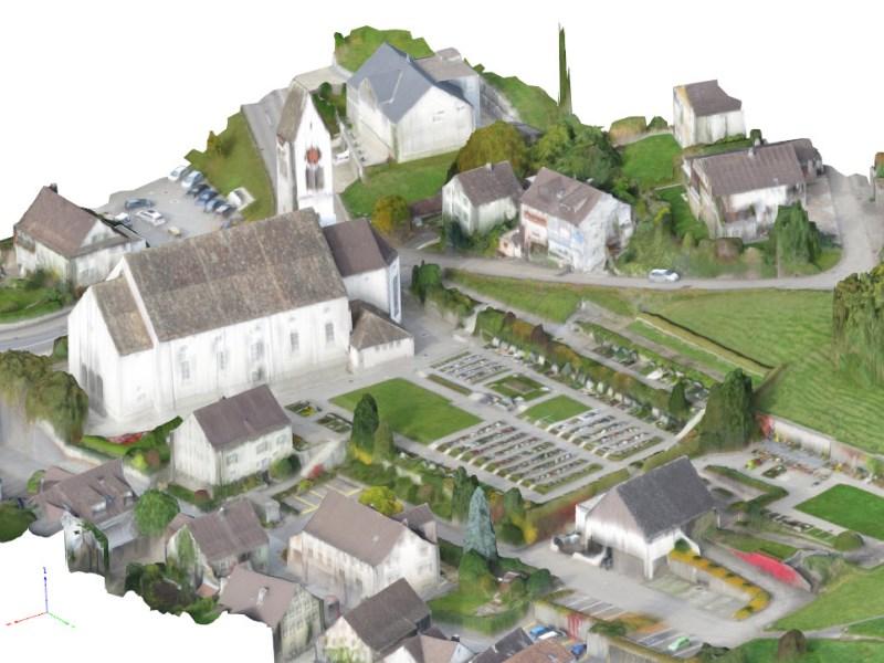 Vermessung und Geomatik: Generiertes 3D-Geländemodell einer Ortschaft